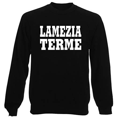 Felpa Girocollo Uomo Nera WC0977 LAMEZIA Terme Italia Citta Stemma Logo
