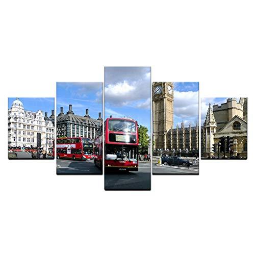 Painting Leinwand 5 Teilig Straßenarchitekturlandschaft der Stadt London Big Ben Wandbilder Bilder und Kunstdrucke auf Leinwand Leinwandbild Ölgemälde Home Deko für Wohnzimmer SchlUngerahmt 100x50cm