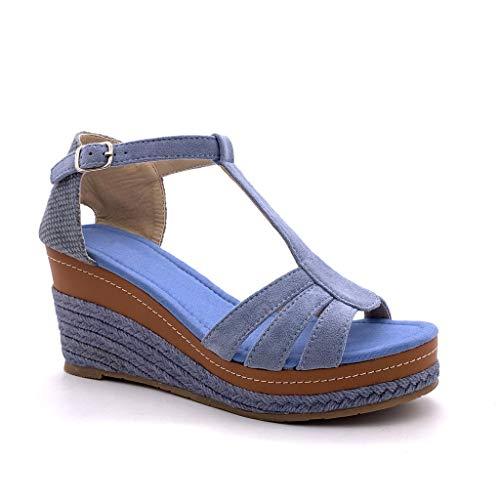 Angkorly - Zapatillas Moda Sandalias Alpargata Correa-T Abierto Correa de Tobillo Mujer Correas Trenzado Plataforma 8 CM - Azul FL32 T 41
