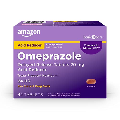 Amazon Basic Care Omeprazole Delayed Release Tablets 20 mg,...