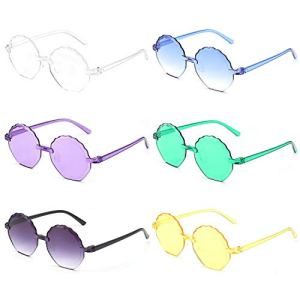 YVENIGHT 6 Pieces Kids Sunglasses Cute Flower Shaped Sunglasses for Boys Girls Party Accessories