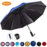 Viefin Reverse Folding Compact Travel Umbrellas for Women, Inverted Inside Out Sun Rain Woman Umbrella, Automatic Open Close, 10 Ribs-Blue