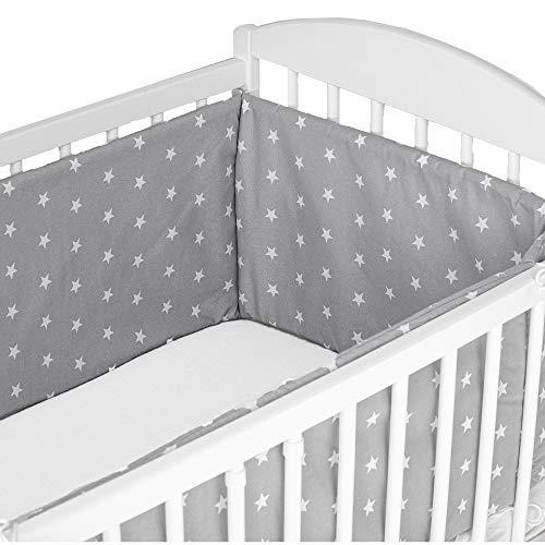 tour de lit bebe garcon - contour lit bebe respirant coton (gris avec des étoiles blanches, 180 x 30 cm)