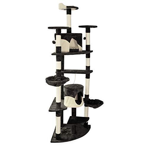 Árbol rascador para gatos de 200cm Negro/blanco