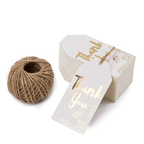 WRAPAHOLIC Gift Tags with String - 100PCS White Kraft Thank You Paper Tags with 100 Feet Natural Jute Twine for Wedding, Baby Shower, Party Favors