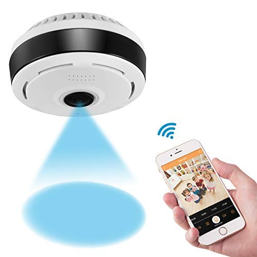 360 Degree Panoramic Camera WiFi Indoor IP Camera with Clear Night Vision 2-way Audio Motion Detection 960P Home Security Camera System for Baby Kids with iOS/Android APP for Remote Monitoring
