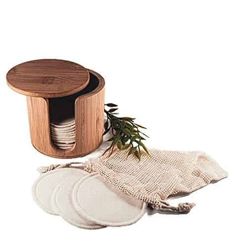 16 wiederverwendbare Abschminkpads + Box | Aus 100{774f1431816e1b6946d741e1226a81bfb0297b4efb2fc9973f0f4eaf9bfbfe23} Baumwolle inkl. Wäschenetz und Bambus Box-Spender | Make-Up Entferner zur Gesichtsreinigung | Umweltfreundlich Waschbar Vegan Nachhaltig