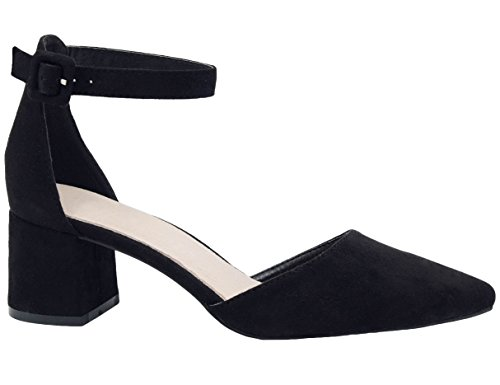 Greatonu Zapatos de Tacón Ancho Espigón Estilo Dulce con Tira Trasera en la Parte Negro para Mujer Tamaño 40 EU