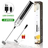 Rechargeable Milk Frother, New Auto-Protect Technology, Basecent Electric Handheld Foam Maker for Bulletproof Coffee Latte, Cappuccino, Protein Powder, Matcha