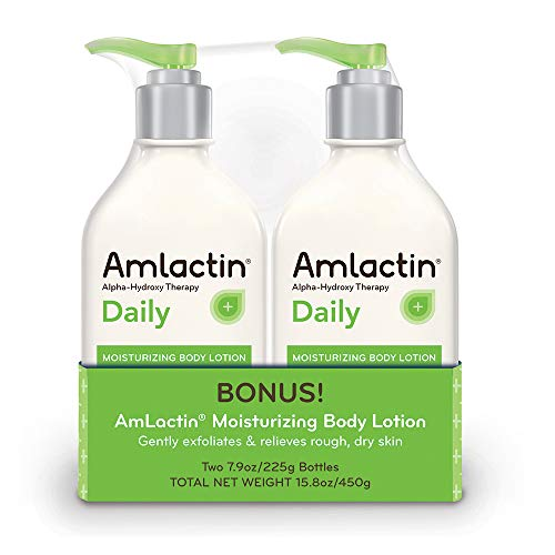 AmLactin Daily Moisturizing Body Lotion | Instantly Hydrates, Relieves Roughness | Powerful Alpha-Hydroxy Therapy Gently Exfoliates | Smooths Dry Skin | Twin Pack (2) 7.9 oz. Bottles