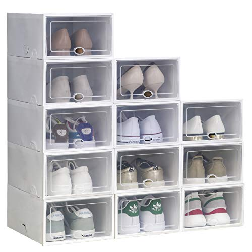 Shoe Storage Boxes Clear Plastic Stackable Shoe Organizer 12 Pack...