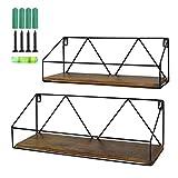 PETAFLOP Wall Mount Shelf Rustic Wood Floating Shelves Storage for Kitchen Living Room Bathroom, Set...