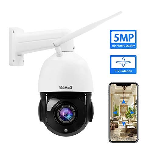 Telecamera PTZ Wifi 5MP IP dome Supporto per zoom ottico 20x Audio bidirezionale visione notturna a 400 fts, sorveglianza IP66 impermeabile Onvif H.265 per esterno, slot per scheda SD integrata