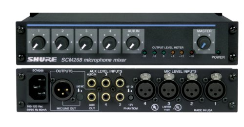 Shure SCM268 4-Channel Microphone Mixer, 6 Transformers, Phantom Power and IEC Power Cord Connector