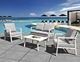 HL Outdoor Patio Furniture Aluminum Frame 4-Piece Cushioned Conversation Set with Coffee Table, Modern Chat Set Home Crested Bay Furniture (Gray)