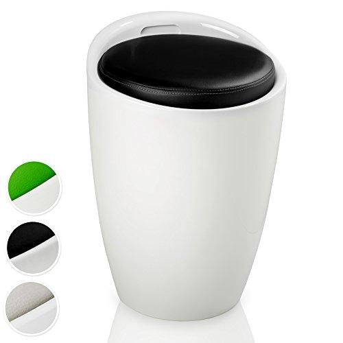 TecTake Sitzhocker Badhocker rund   ABS Kunststoff   mit Stauraum und Sitzkissen - Diverse Farben - (Weiß Schwarz   Nr. 402079)