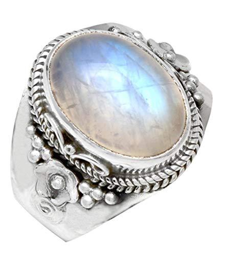 YoTreasure Rainbow Moonstone Solid 925 Sterling Silver Ring...