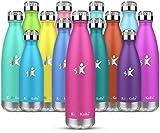 KollyKolla Bottiglia Acqua in Acciaio Inox, 500ml Senza BPA Borraccia Termica, Isolamento Sottovuoto a Doppia Parete, Borracce per Bambini, Scuola, Sport, All'aperto, Palestra, Yoga, Rosa Rossa