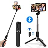 Yoozon Selfie Stick Tripod Bluetooth, Extendable Phone Tripod Selfie Stick with Wireless Remote Shutter for iPhone SE 2/11/11 Pro/11 Pro Max/Xs MAX/XR/XS/X, Galaxy S20/Note 10/S10/S9, Huawei and More