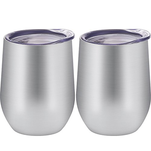 Skylety 12 oz Double-insulated Stemless Glass, Stainless Steel Tumbler Cup with Lids for Wine, Coffee, Drinks, Champagne, Cocktails, 2 Pieces (Silver)