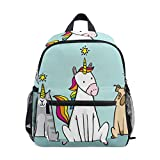 Mochila para niños y niñas Mini Mochila Bolsa de Viaje con Clip para el Pecho Unicornio Gato Perro