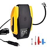 Tire Inflator, LIZESTAR Air Compressor Pump with Digital Display, 12V DC Portable Auto Tire Pump up to 150PSI for Car, Bicycle and Other Inflatables (yellow)