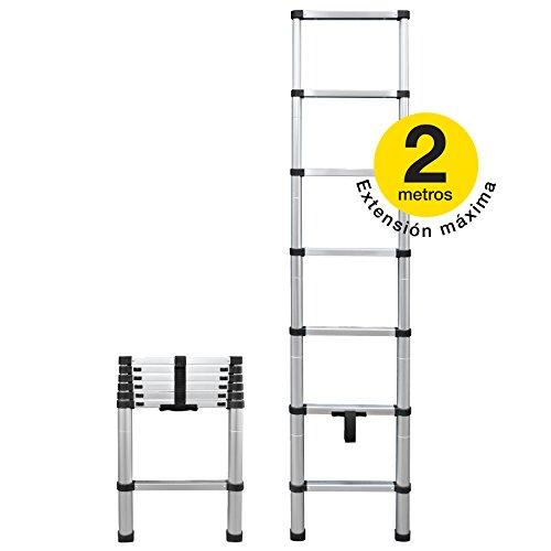 NES ESC2017 Escalera Telescópica de Aluminio/Escalera Retráctil/Escalera Ajustable/Escalera Portatil (Aluminio) 45 cm x 6.3 cm x 68 cm Plateado con Negro