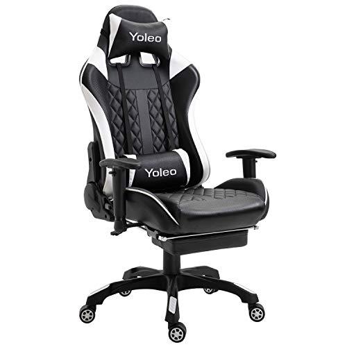 YOLEO Gaming Stuhl, bequemer Gaming Sessel 150 kg Belastbarkeit, Kunstleder PC Stuhl drehbar höhenverstellbar Gaming Chair mit Kopfstütze und Fußstütze (schwarz-weiß)