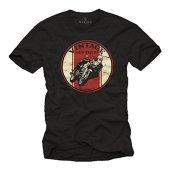 MAKAYA Ropa Motorista Hombre - Vintage Cafe Racer - Camiseta Moto Negra L