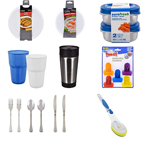 Dorm Kitchen Essentials, Microwave Bowls/Plates, Food Storage Containers, Silverware, Bag Clips, Travel Mug,...
