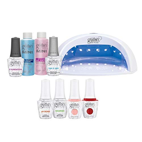 Gelish Pro Kit Bundle with Salon 18G LED Professional Gel Polish Curing Light Lamp, Basix Kit, Soak Off Remover, and 2 Nail Polishes, 15 mL