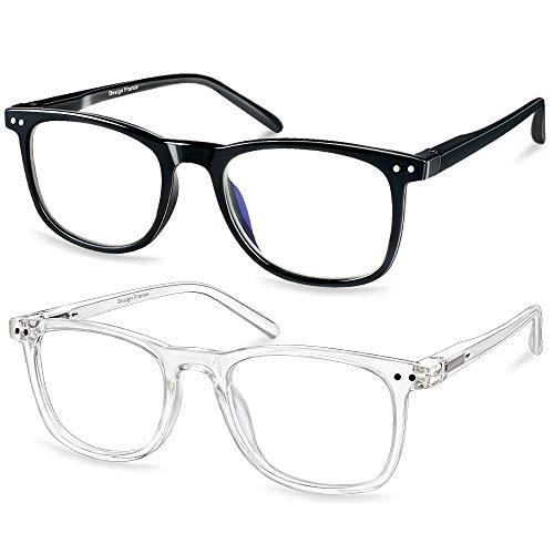Blaulichtfilter Brille 2 Pack, Blaue Licht Blockieren Brille UV400 Hochtransparenten Linsen Computerbille, Gegen Augenmüdigkeit/Kopfschmerzen TV und PC Brille, Antireflex Lesebrille für Frauen/Män