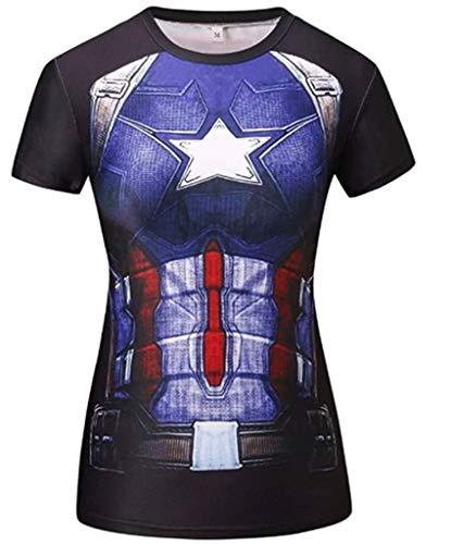 Moit Superhelden-Kompressions-T-Shirt für Damen, schnelltrocknend, halbe Ärmel Gr. M, mehrfarbig