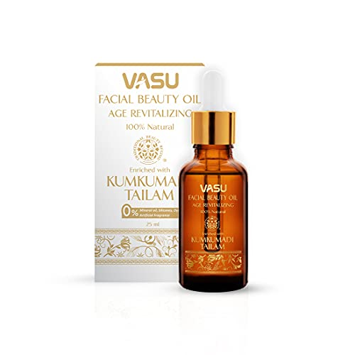 Vasu Facial Beauty Oil enriched with Kumkumadi Tailam - 100% Natural Face Oil, Gives Natural Glow to Your Face, A Unique Blend of 5 Precious Oils with Potent Herbs