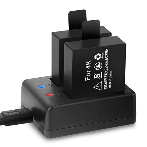 Crosstour Action Camera Batteria Ricaricabile 2 Pacco 1350mAh Batterie USB Batteria Caricabatterie Action Cam CT7000/CT9000/CT8500/CT9000/CT9900