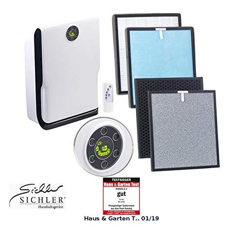 Sichler Haushaltsgeräte Rauchfresser: 6-Stufen-Luftreiniger mit UV-Licht, Ionisator und 2-fachem Filtersatz (Luftreiniger Ionisator HEPA)