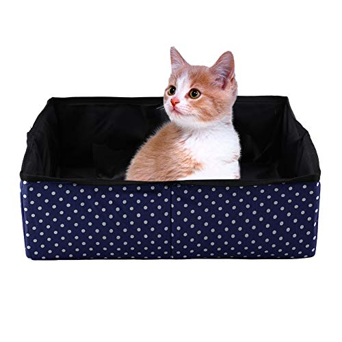 Caja de Arena para Gatos, Plegable portátil para Mascotas Caja de Arena para Mascotas Kitty Litter Pan Caja de Aseo para Gatos Cama para Mascotas Casa Nido para Uso en Viajes al Aire Libre(Azul)