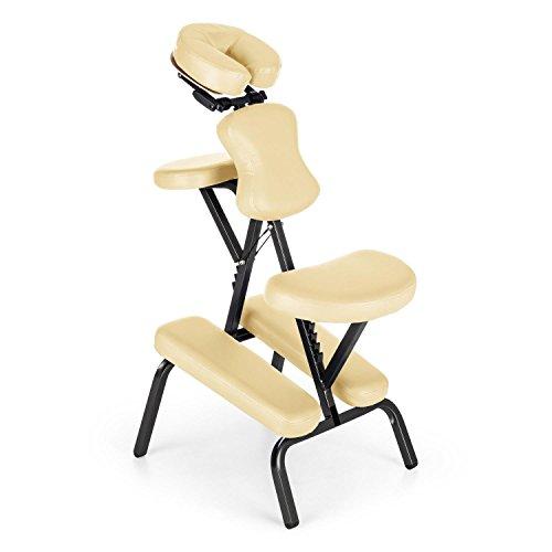 Klarfit MS 300 - Massagestuhl, Massageliege, Tattoostuhl, Sitz & Armablage verstellbar, Kopfstütze stufenlos drehbar, Bruststütze stufenlos verstellbar, Transport-Koffer, blau oder beige