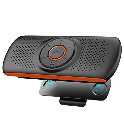 NETVIP Kit Mains Libres Bluetooth 4.2 Portable Voiture avec Instruction GPS,Musique, élimination du Bruit, Instalation sur Pare Soleil, Handsfree Bluetooth Car Kit en même Temps Pair 2 Phones