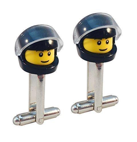 LEGO Minifigur FAHRRADFAHRER MANSCHETTENKNÖPFE Motorrad Rennauto Helm MotoX F1 Rennsport - Schwarz
