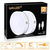 Dimmable Touch Light   WILLED Buit-in 1000mAh Large Battery Rechargeable LED Tap Lights   Magnet Stick on Closet Light   Portable LED Puck Night Lights for Cabinet, Wardrobe, Counter, Kitchen, Bedroom