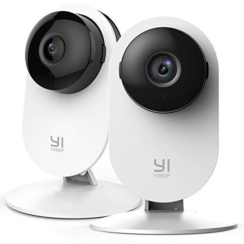 YI Cámara Interior de vigilancia IP, 1080 píxeles, WiFi, con detección de Movimiento, notificaciones Push, Audio bidireccional, visión Nocturna, cámara Inteligente para teléfono/PC, Kit de 2
