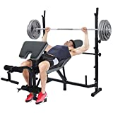 Standard Weight Bench, Multifunctional Workout Station Adjustable Dumbbell Bench Weightlifting Bed with Preacher Curl Leg Developer and Crunch Handle (Black)
