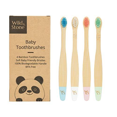 Wild & Stone Spazzolino da Denti in Bambù Biologico per Bambini | Quattro Colori | Setole Morbide in Fibra | Manico 100% Biodegradabile | Senza BPA | Spazzolini Vegani Ecologici per Bambini