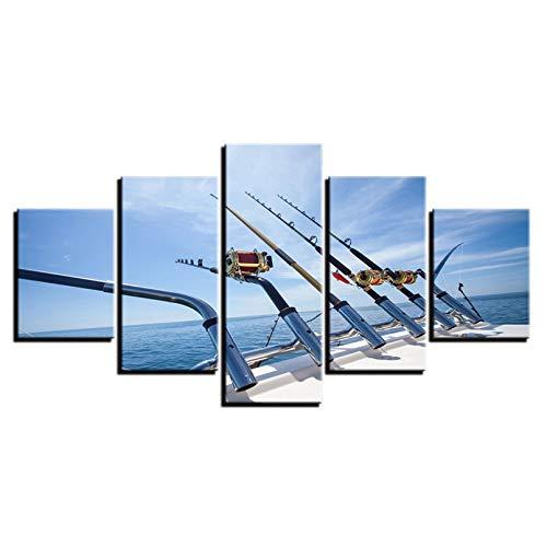 5 Dipinti su Tela Stampe su Tela Poster Immagini di Arte della Parete 5 Pezzi Canna da Pesca in Mare Dipinti di paesaggi a Vela Soggiorno Decorazioni per la casa (Nessuna Cornice)