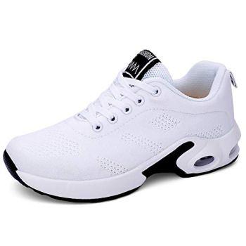 AIRAVATA Femme Mode Chaussures de Sports Course Fitness Gym Athlétique Multisports Outdoor Casual Air Baskets Blanc 41 EU