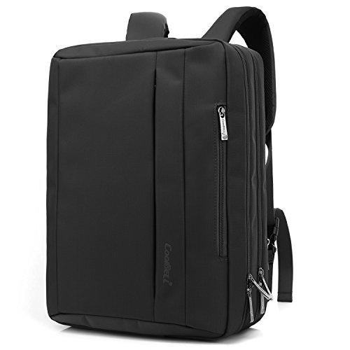 CoolBELL Borsa-Zaino Portatile messener Convertibile, con Tessuto Oxford e Tracolla per Computer Portatile/MacBook/Tablet da 17,3 Pollici (Nero)