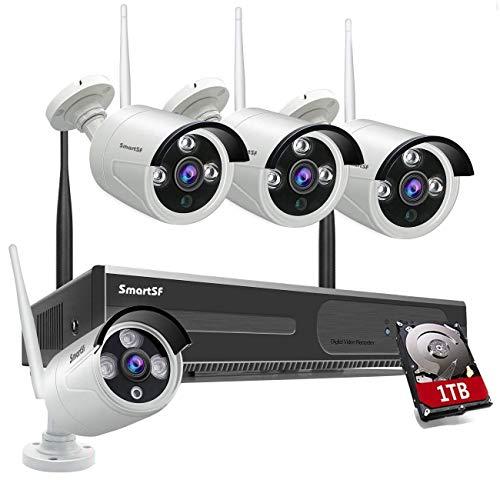 Kit de sistema de vigilancia de cámara de vigilancia inalámbrica para el hogar, con visión nocturna, NVR 1080p 8CH con HDD de 1TB Adecuado para el hogar / la oficina