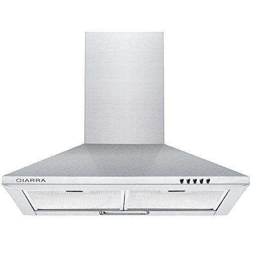 CIARRA CBCS6201 cappa aspirante 60cm cappa da cucina 60cm in acciaio inossidabile (argento)