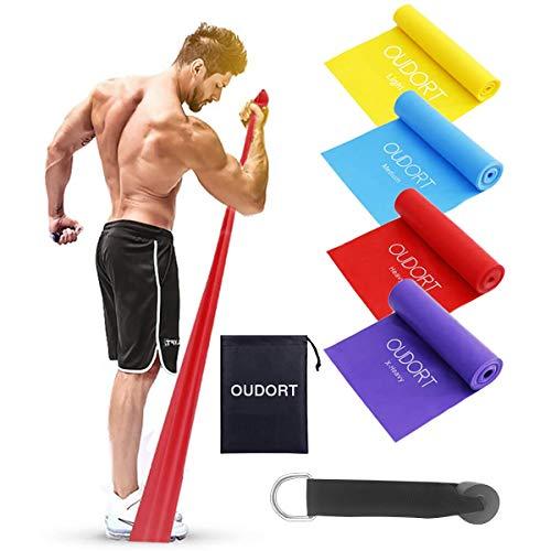 Oudort Bande Elastiche Fitness, [4 Pezzi] Lunghezza 1,8 m Fasce Elastiche di Resistenza con 4 Livelli, Fascia Elastici Esercizi Ideale per Yoga, Pilates, Allenamento di Forza e Flessibilit